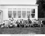 Children and teachers outside of school, possibly in Grays Harbor County, n.d.