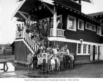 Children and teachers outside school building, possibly in Grays Harbor County, n.d.
