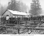 Loggers and mess hall and camp crew standing on raised walkway, Wynooche Timber Company, probably...