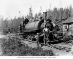 Wynooche Timber Company's Baldwin saddle-tank locomotive 4, probably in Grays Harbor County, ca....