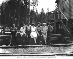 Loggers and mess hall waitresses, North Western Lumber Company, probably in Grays Harbor County,...