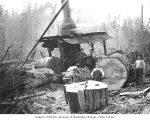 Donkey engine with logging crew splitting wood, Ebey Logging Company, ca. 1917