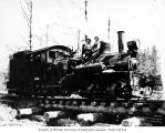 Crew with Workman Creek Logging Company's two-truck Shay locomotive 10, probably near Elma, ca....