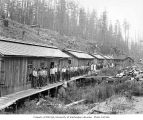 Loggers and mess hall crew at logging camp, Wynooche Timber Company, near Montesano, ca. 1921