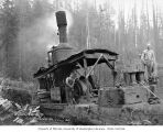 Donkey engine and crew, Wynooche Timber Company, near Montesano, ca. 1921
