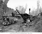 Construction crew with Bucyrus steam shovel, Wynooche Timber Company, near Montesano, ca. 1921