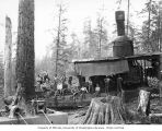 Loading crew and donkey engine, Wynooche Timber Company, near Montesano, ca. 1921