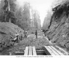 Construction crew working on railroad track right-of-way, Wynooche Timber Company, near Montesano,...
