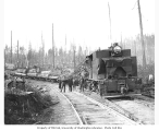 Ebey Logging Company Shay locomotive and crew, ca. 1917