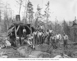 Loading crew with donkey engine, camp 4, Simpson Logging Company, Mason County, ca. 1935