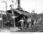 Donkey engine and crew, camp 5, Simpson Logging Company, Grays Harbor County, ca. 1940