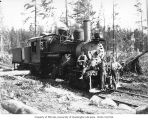Crew with Simpson Logging Company's Climax locomotive 4, camp 5, Grays Harbor County, ca. 1936