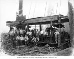 Loading crew and donkey engine, camp 1, Simpson Logging Company, Mason County, ca. 1924