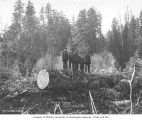 Loggers in the woods, camp 2, Simpson Logging Company, near Matlock, ca. 1927