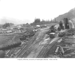 Camp and railroad car barn, Kosmos Logging Company, ca. 1940
