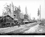 Crew with Donovan-Corkery Logging Company's Climax locomotive 1 and log train, camp 2, ca. 1928