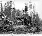 Loading crew and donkey engine, camp 2, Donovan-Corkery Logging Company, ca. 1928