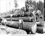 Loading crew on stacked logs, Donovan-Corkery Logging Company, ca. 1928