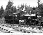 Crew with Donovan-Corkery Logging Company's three-truck Climax locomotive 5, ca. 1928