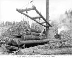 Crew at loading site with logs on railroad skeleton car, Polson Logging Company, near Hoquiam, n.d.