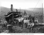 Loading crew and donkey engine, camp 1, Polson Logging Company, near Hoquiam, n.d.