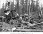 Loading crew and donkey engine, camp 4, Polson Logging Company, near Hoquiam, n.d.