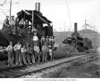 Crew and donkey engines, Polson Logging Company, near Hoquiam, n.d.
