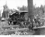 Crew at loading site, camp 4, Polson Logging Company, near Hoquiam, n.d.