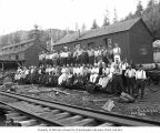 Loggers and mess hall crew, camp 3, Polson Logging Company, near New London, n.d.