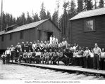 Loggers and mess hall crew at camp 7, Polson Logging Company, near Hoquiam, n.d.