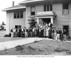 Students and teachers outside of school building, probably Grays Harbor County, ca. 1935