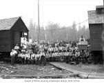 Loggers and mess hall crew, camp 2, Polson Logging Company, near Hoquiam, n.d.