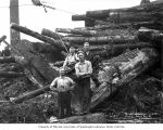 Loggers and cold deck, camp 2, Polson Logging Company, near Hoquiam, n.d.