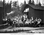 Loggers, camp crew and families at Polson Logging Company headquarters, called Railroad Camp, near...