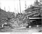 Crew on donkey engine at loading site, with cold deck in background, Polson Logging Company, near...