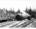 Loggers at camp, with locomotives, Hobi Timber Company, ca. 1928