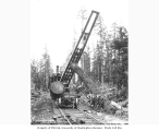 Crew loading skeleton railroad cars with locomotive crane, Greenwood Logging Company, ca. 1930
