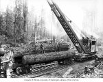 Crew with loading crane and logs loaded on skeleton cars, Greenwood Logging Company, near...