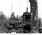 Crew on logs on skeleton cars at loading site with two donkey engines, Greenwood Logging Company,...