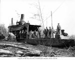 Loading crew and donkey engine, camp 2, Independence Logging Company, ca. 1924