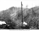 Log skid on hillside and loading site with two donkey engines, camp 6, Independence Logging...