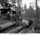 Donkey engine and crew, Lester Logging Company, near Montesano, ca. 1915