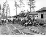 Loggers at Clemons Logging Company's railroad logging camp 3, near Melbourne, ca. 1930