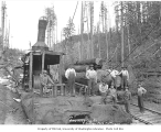 Logging crew and donkey engine, Little Rock Logging Company, ca. 1915