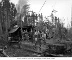 Loading crew and donkey engine, Clemons Logging Company, near Melbourne, ca. 1930