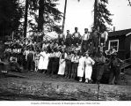Loggers and mess hall crew at logging camp, Clemons Logging Company, near Melbourne, ca. 1930