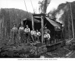 Crew and donkey engine, Clemons Logging Company, near Melbourne, ca. 1930