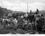 Loggers and mess hall crew at railroad logging camp 2, Clemons Logging Company, ca. 1930