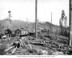 Railroad logging camp, Clemons Logging Company, near Melbourne, ca. 1930