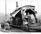 Donkey engine and crew, Clemons Logging Company, near Melbourne, ca. 1930